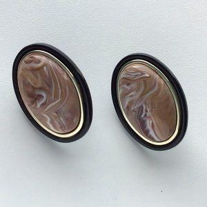 Vintage Lucite Swirl Oval Oversized Earrings